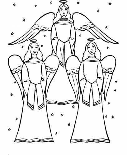 раскраска Рождественские ангелы пели среди звезд.